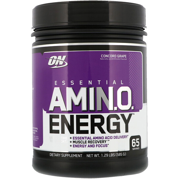 Optimum Nutrition, Essential AmiN.O. Energy, Uva Concord, 1.29 Lbs (585 g)
