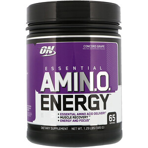 Оптимум Нутришэн, ESSENTIAL AMIN.O. ENERGY, Concord Grape, 1.29 lbs (585 g) отзывы покупателей