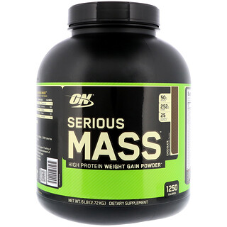 Optimum Nutrition, Serious Mass, High Protein Weight Gain Powder, Chocolate, 6 lbs (2.72 kg)