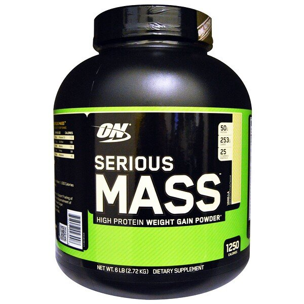 Optimum Nutrition, Serious Mass, High Protein Weight Gain Powder, Vanilla, 6 lbs (2.72 kg)