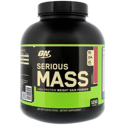 Купить Optimum Nutrition Serious Mass, порошок с высоким содержанием белка для набора веса, со вкусом клубники, 2, 72 кг (6 фунтов)