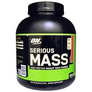Optimum Nutrition, Serious Mass, Strawberry, 6 lbs (2.72 kg)