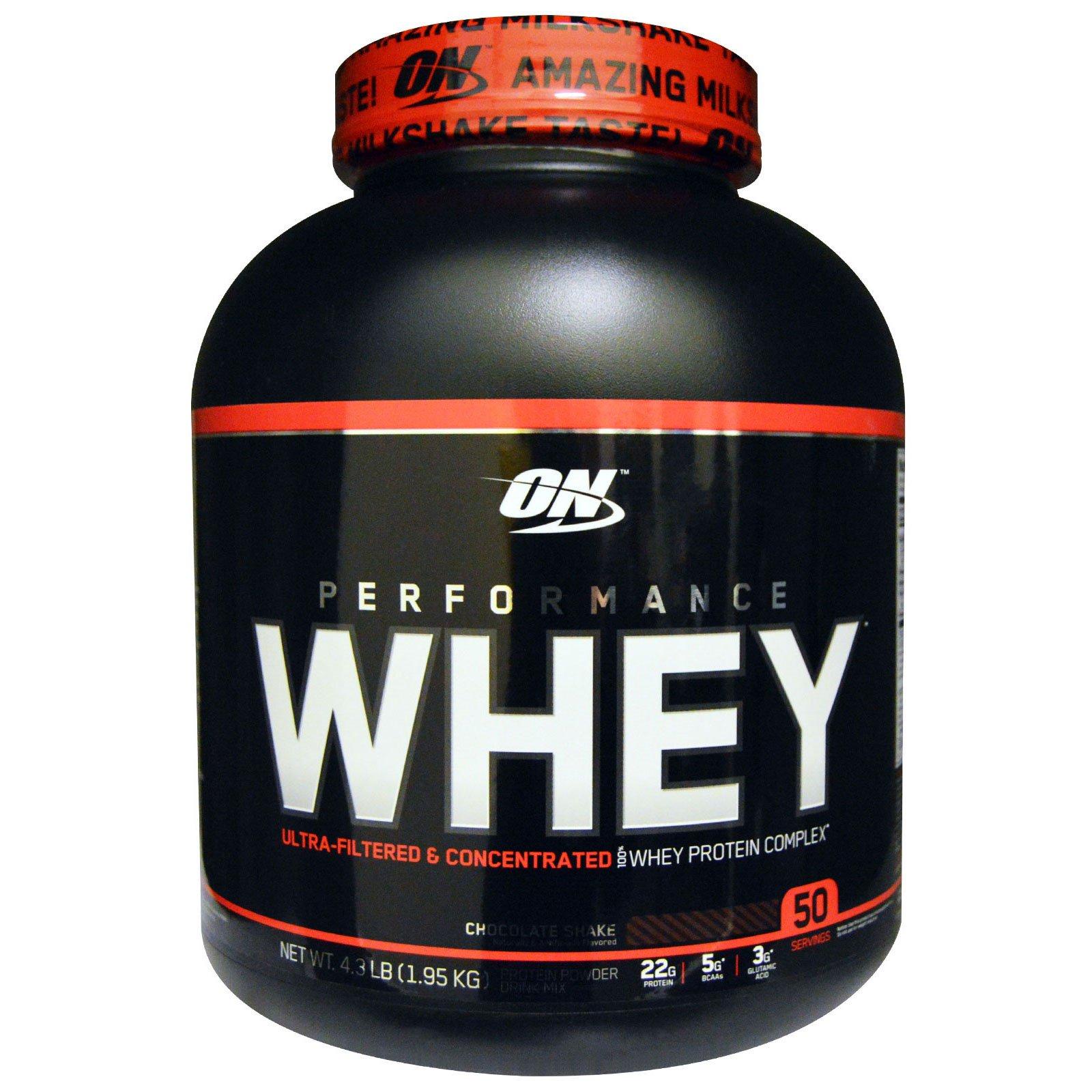 Optimum Nutrition, Performance Whey, шоколадный протеиновый коктейль, 4,3 фунта (1,95 кг)