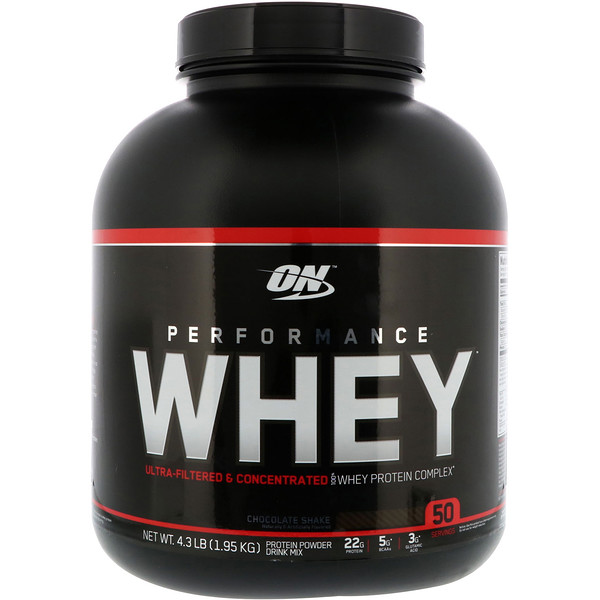 Optimum Nutrition, Performance Whey, Chocolate Shake, 4.3 lb (1.95 kg) (Discontinued Item)
