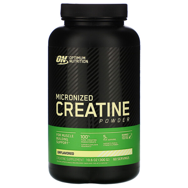 Optimum Nutrition, Creatina Micronizada en Polvo, Sin Sabor, 5,000 mg, 10.5 oz (300 g)