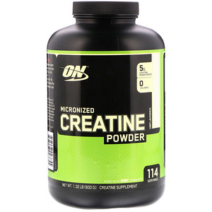 Optimum Nutrition, Micronized Creatine Powder, Unflavored, 1.32 lb (600 g)