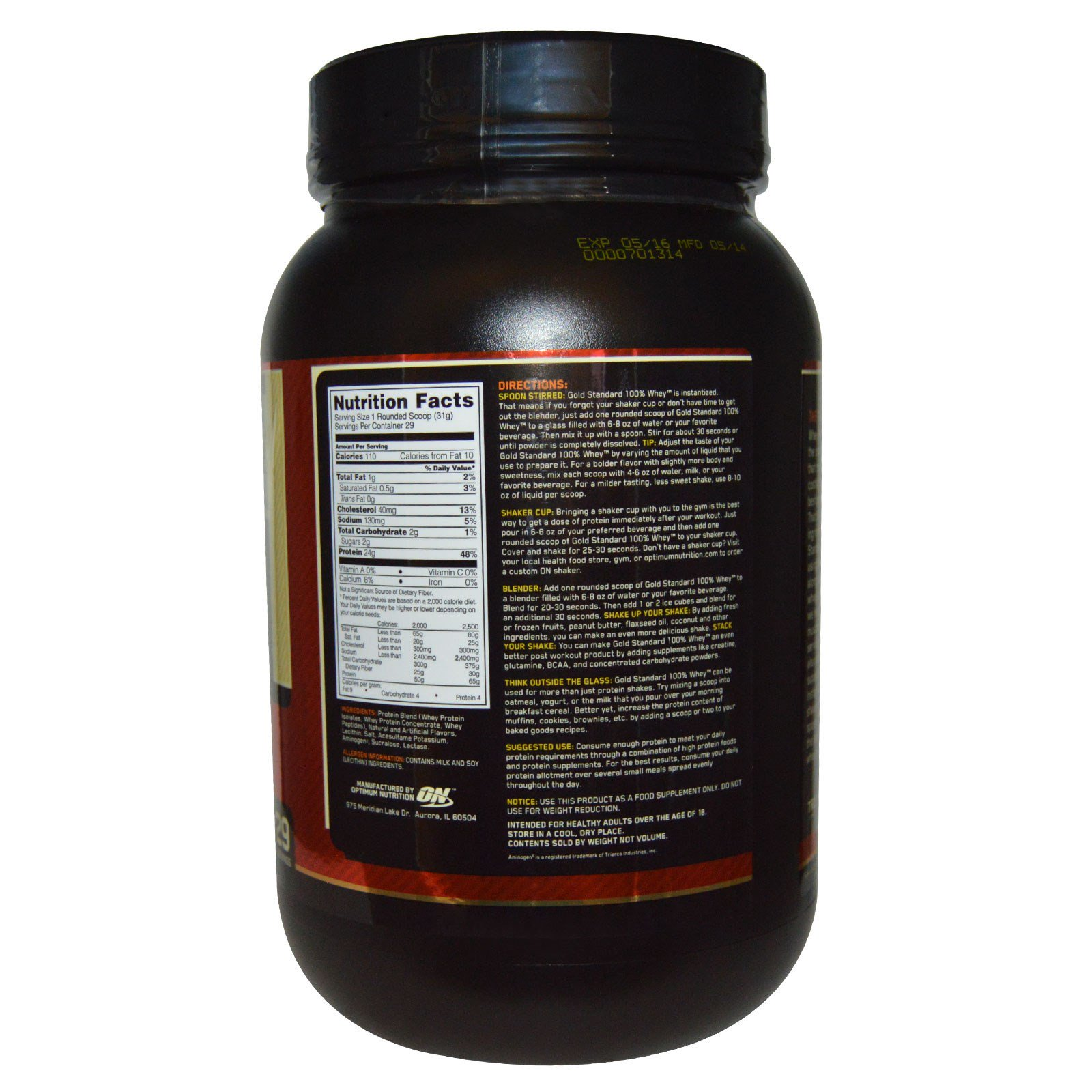 Optimum Nutrition Gold Standard 100 Isolate Protein: Optimum Nutrition 100 Gold Standard Whey Protein In French