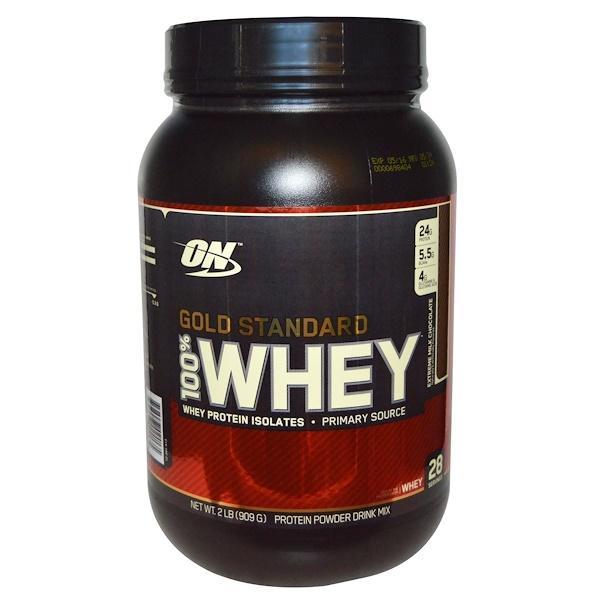 Optimum Nutrition, 100% молочная сыворотка, золотой стандарт, с арматом молочного шоколада, 2 фунта (912 г)