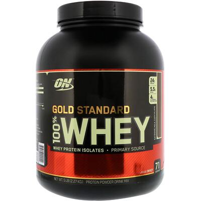100 % молочная сыворотка «Золотой стандарт», Молочный шоколад, 5 фунтов (2.273 г)