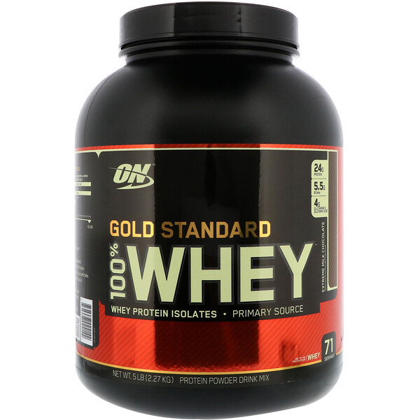 Optimum Nutrition, Gold Standard, 100% Whey, Extreme Milk Chocolate, 5 lbs (2.27 kg)