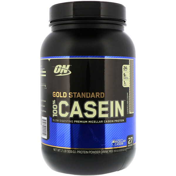 Optimum Nutrition, Gold Standard 100% Casein, Cookies and Cream, 2 lbs (909 g)