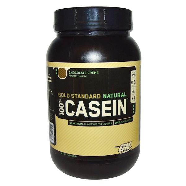 Optimum Nutrition, Натуральный 100% казеин золотого стандарта, со вкусом шоколадного крема, 2 фунта (909 г)