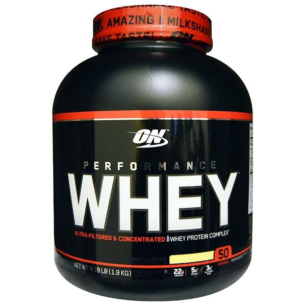 Optimum Nutrition, Performance Whey, со вкусом ванильного шейка, 4,19 фунтов (1,9 кг)