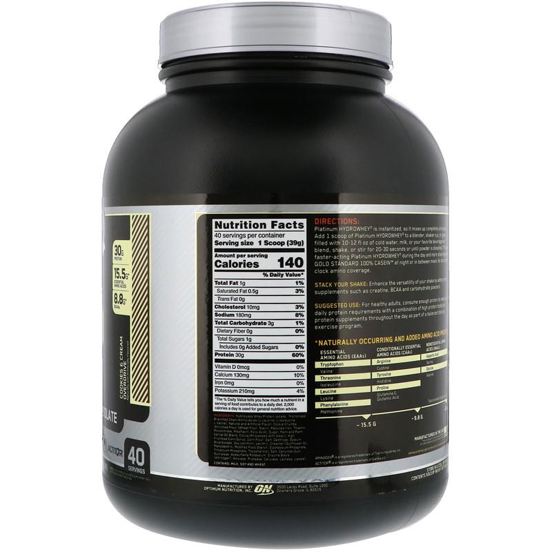 Optimum Nutrition, Platinum Hydro Whey, Cookies & Cream Overdrive, 3.5 lbs (1.59 kg) - photo 1