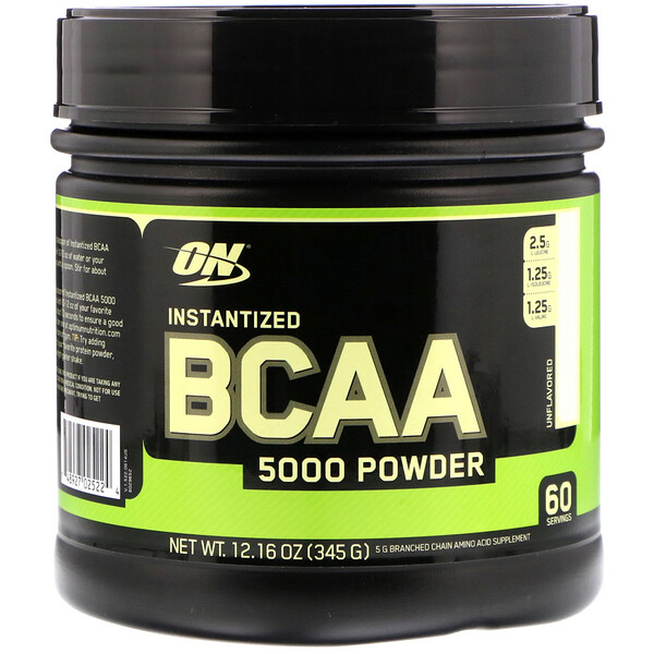 Optimum Nutrition, Instantized BCAA 5000 Powder, Unflavored, 12.16 oz (345 g)