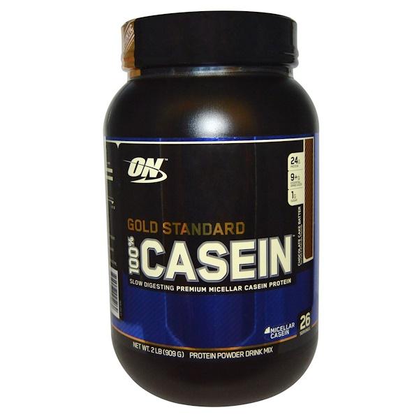 Optimum Nutrition, Gold Standard, 100% Casein, Protein Powder Drink Mix, Chocolate Cake Batter, 2 lbs (909 g) (Discontinued Item)