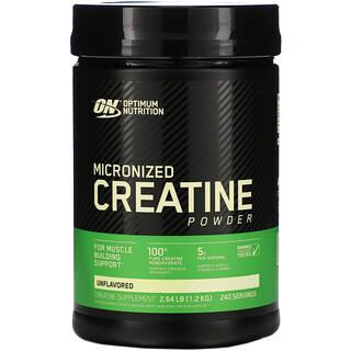 Optimum Nutrition, Creatina micronizada en polvo, Sin sabor, 1,2kg (2,64lb)