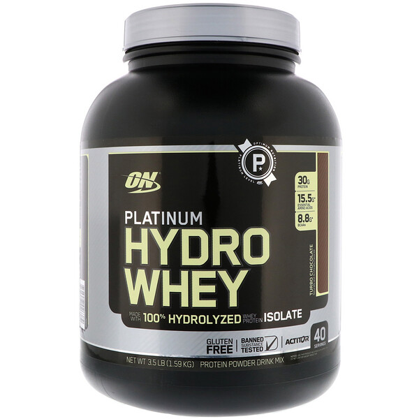 Optimum Nutrition, Platinum Hydrowhey, Turbo Chocolat, 3,5 lb(1,59 kg)