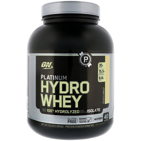"Optimum Nutrition, Platinum Hydro Whey, וניל וולוסיטי, 1.59 ק""ג (3.5 lbs)"