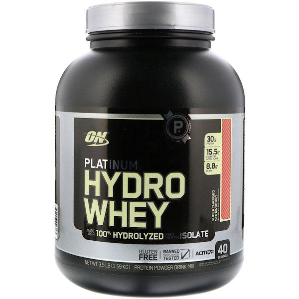 Optimum Nutrition, Platinum Hydro Whey, Supercharged Strawberry, 3.5 lbs (1,59 kg) (Discontinued Item)