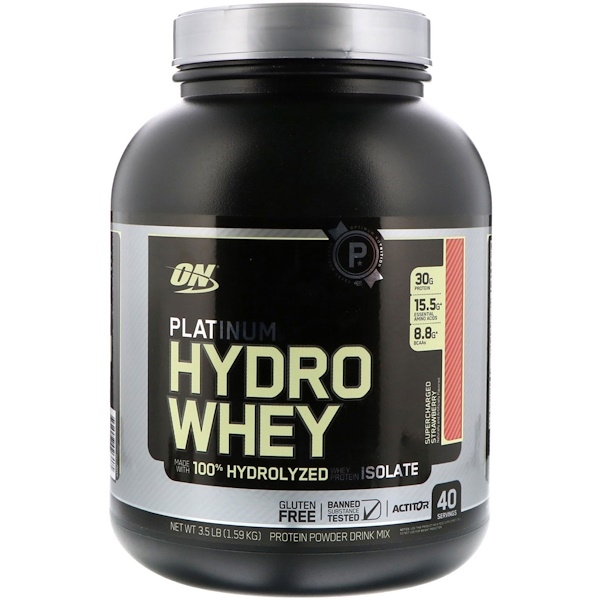 Optimum Nutrition, Platinum Hydrowhey, Supercharged Strawberry, 3.5 lbs (1,590 g) (Discontinued Item)