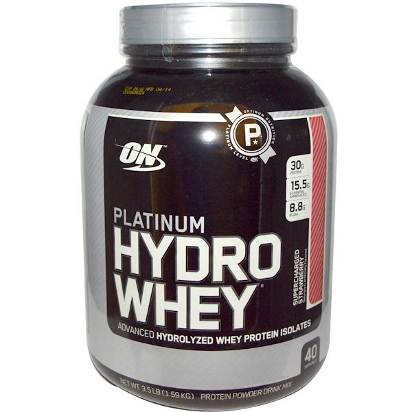 Optimum Nutrition, Platinum Hydro Whey, Supercharged Strawberry, 3.5 lbs (1,59 kg)
