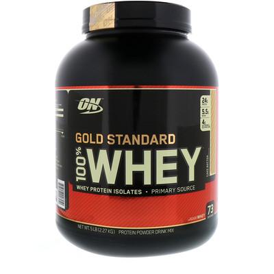 Фото - Gold Standard, 100% сыворотка, Cake Batter, 2,27 кг (5 фунтов) gold standard 100% сыворотка аппетитная клубникка 5 фунтов 2 27 кг