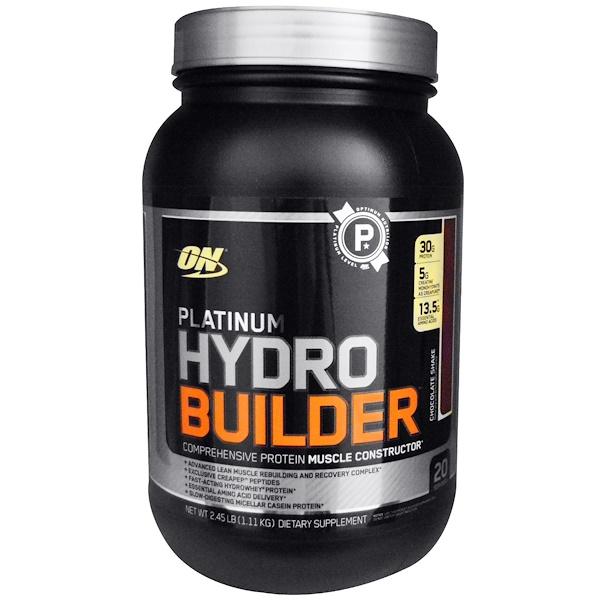 Optimum Nutrition, Platinum Hydrobuilder, со вкусом шоколада, 2.29 фунтов (1040 г) (Discontinued Item)