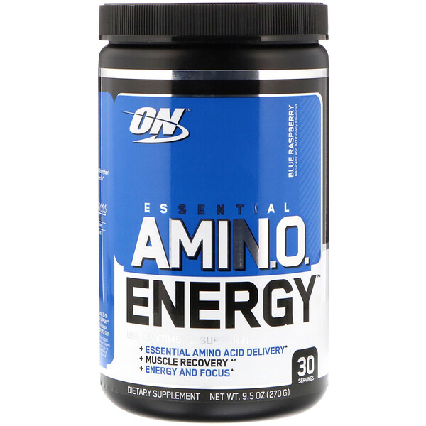 Optimum Nutrition, Essential Amin.O. Energy, голубая малина, 270 г (9,5 унций)