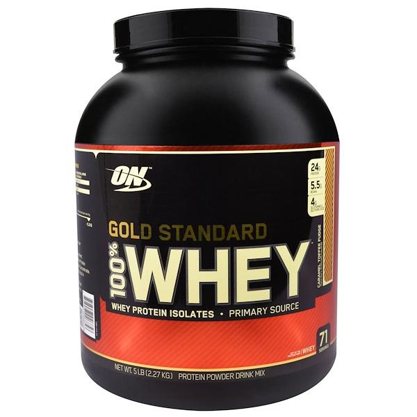 Optimum Nutrition, Gold Standard, 100% Whey, Caramel Toffee Fudge, 5 lbs (2.27 kg) (Discontinued Item)