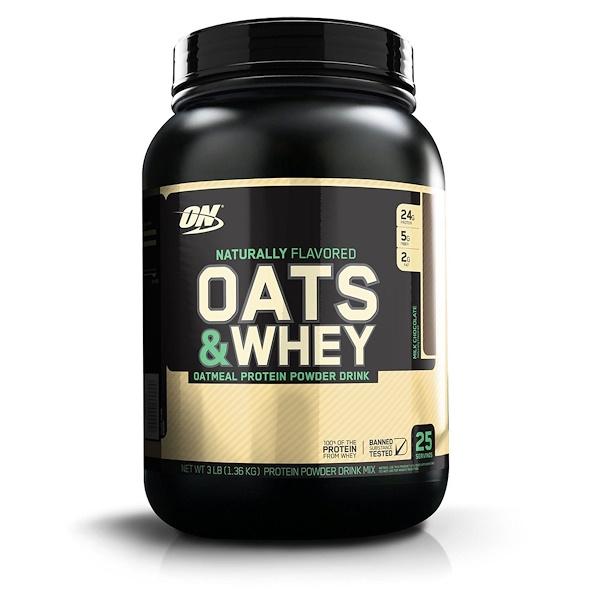Optimum Nutrition, Oats & Whey Protein Powder Drink Mix, Milk Chocolate, 3 lbs (1,36 kg)