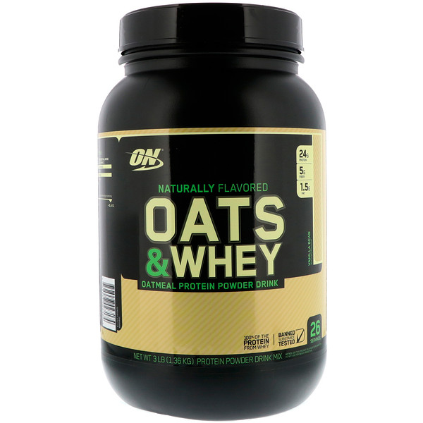 Optimum Nutrition, Oats & Whey, Oatmeal Protein Powder Drink, Vanilla Bean, 3 lbs (1.36 kg) (Discontinued Item)