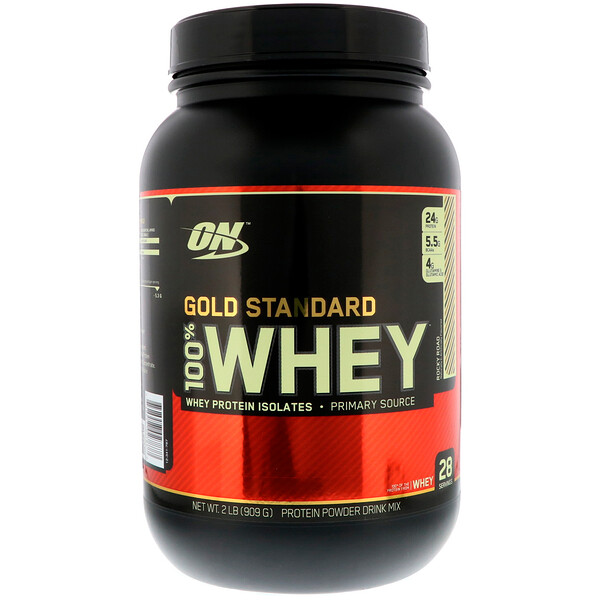 Optimum Nutrition, Gold Standard 100% Whey, Rocky Road, 2 lb (909 g)