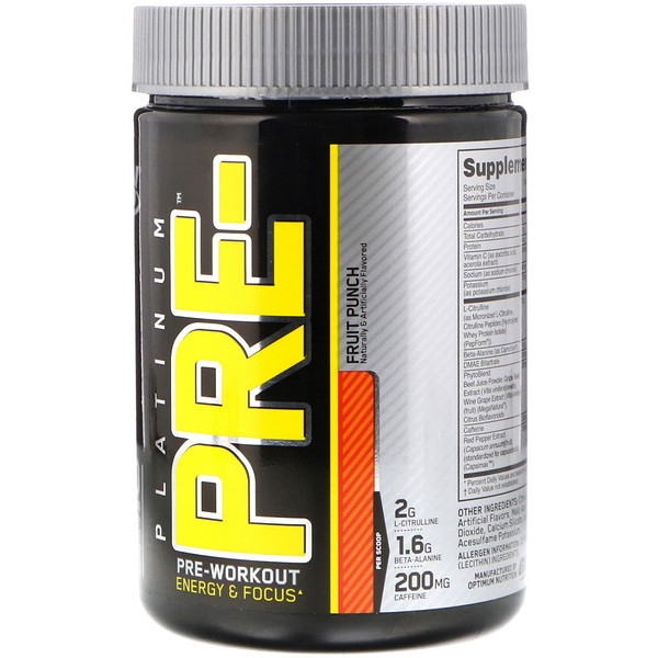 Optimum Nutrition, PLATINUM PRE, Pre-Workout, Fruit Punch, 8.45 oz (240 g) (Discontinued Item)