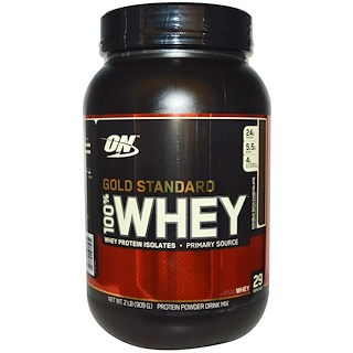 Optimum Nutrition, 100% Suero de Leche, Estándar Dorado, Doble Chocolate, 2 lb (909 g)