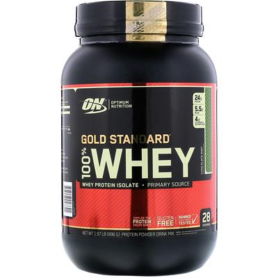 Фото - Gold Standard, 100% Whey, со вкусом шоколада и мяты, 896г (1,97фунтов) gold standard 100 % whey со вкусом соленой карамели 819 г 1 81 фунта