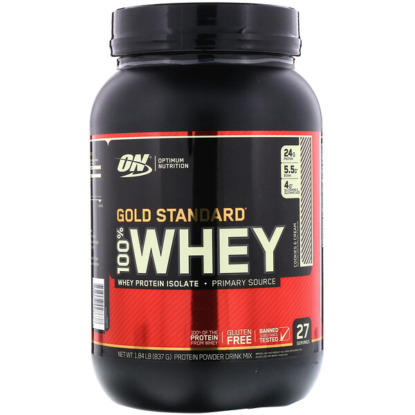 Optimum Nutrition, Gold Standard 100% Whey, Cookies and Cream, 1.84 lbs (837 g)