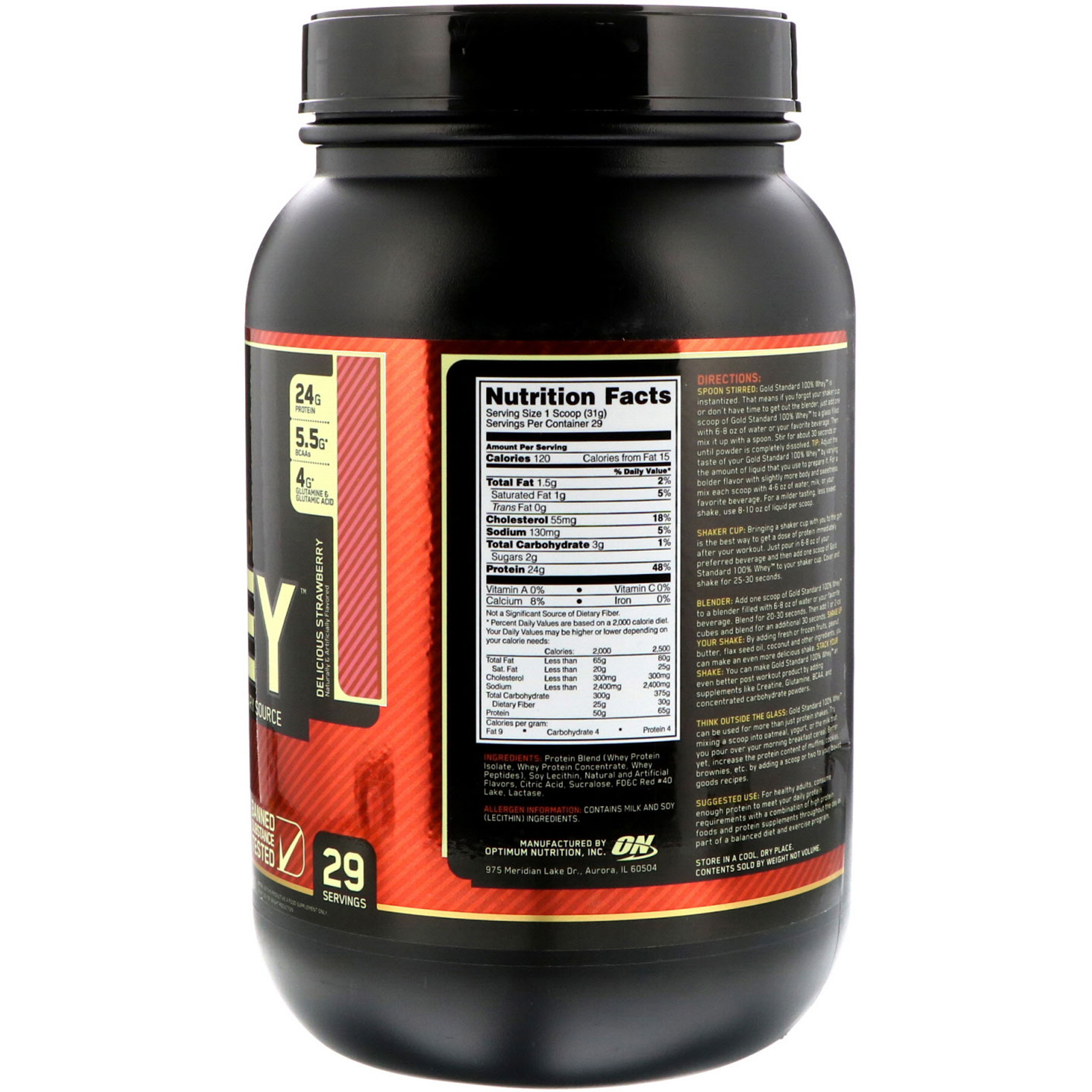 Optimum Nutrition Gold Standard 100 Whey Delicious Strawberry 2 Lb 909 G