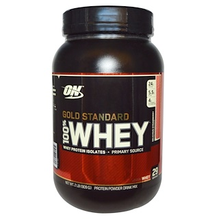 Optimum Nutrition, Gold Standard, 100% Whey, Delicious Strawberry, 2 lbs (909 g)