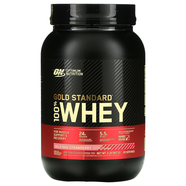 Optimum Nutrition, Gold Standard 100% Whey, Delicious Strawberry, 2 lb (907 g)
