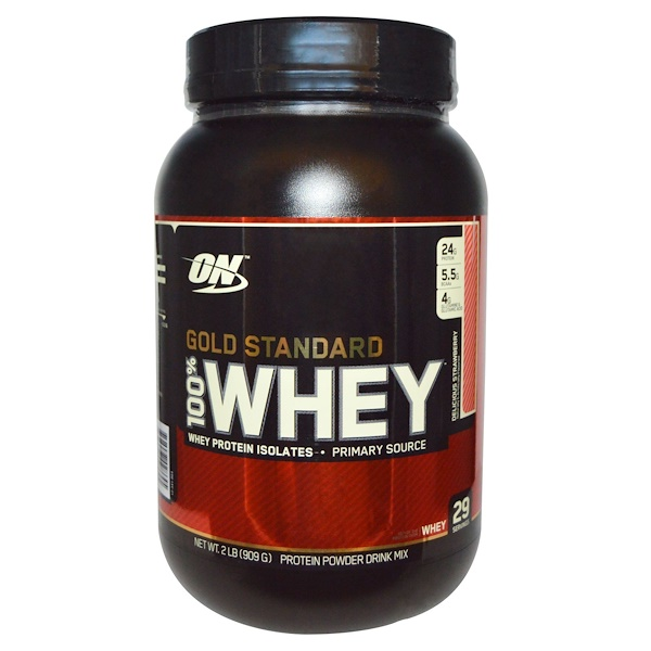 Optimum Nutrition, (オプティマムニュートリション)100%ホエイ、ゴールドスタンダード、おいしいイチゴ、2ポンド(909 g)