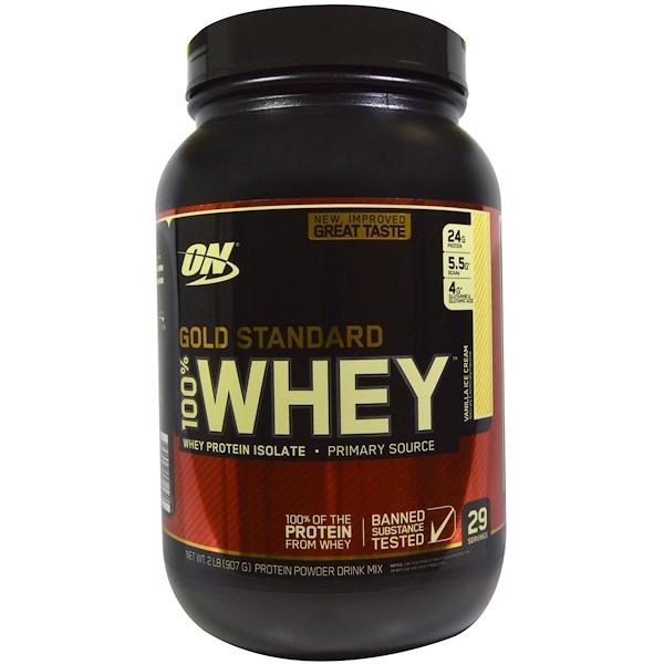Optimum Nutrition, Gold Standard, 100% Whey, Vanilla Ice Cream, 2 lbs (909 g)