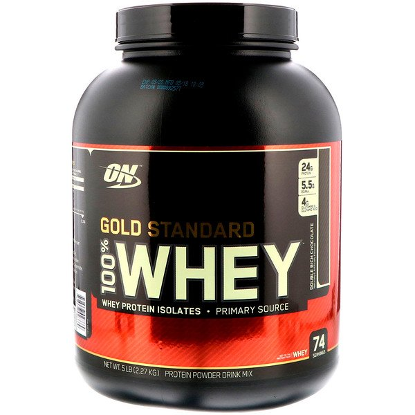 Optimum Nutrition, 100% Proteína Whey, Gold Standard, sabor chocolate, 5 lbs (2,27 kg)