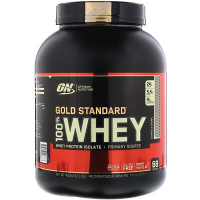 Фото - Gold Standard 100% Whey, Cookies & Cream (Печенье со сливками), 4.63 фунтов (2,1 кг) gold standard 100 % whey со вкусом соленой карамели 819 г 1 81 фунта
