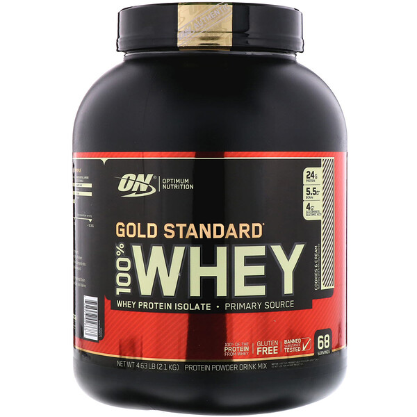 Optimum Nutrition, Gold Standard 100% Whey, Cookies & Cream, 4.63 lbs (2.1 kg)