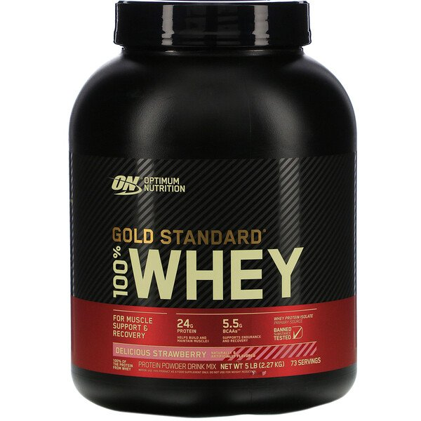 Optimum Nutrition, Gold Standard 100% Whey, Delicious Strawberry, 5 lbs (2.27 kg)