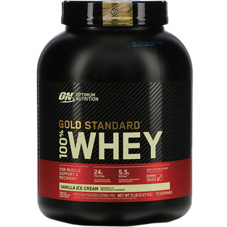 Optimum Nutrition, Gold Standard 100% Whey, Vanilla Ice Cream, 5 lbs (2.27 kg)