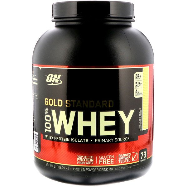 Optimum Nutrition, Gold Standard, 100% Whey, Vanilla Ice Cream, 5 lb (2、27 kg)