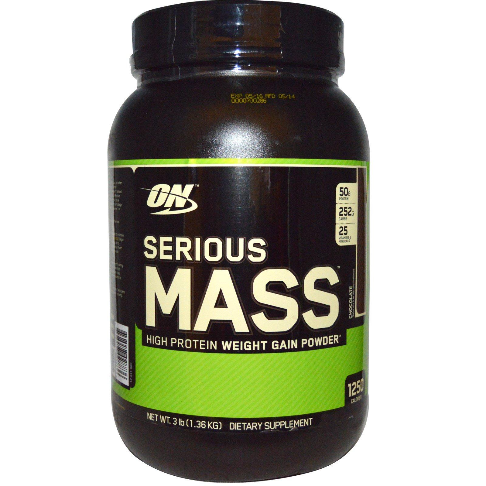 Optimum Nutrition, Serious Mass, Chocolate, 3 lbs (1 36 kg