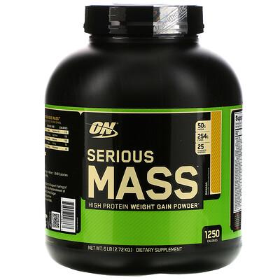 Купить Optimum Nutrition Serious Mass, порошок для набора веса (гейнер) с высоким содержанием протеина, вкус банан, 2720 г (6 lb)